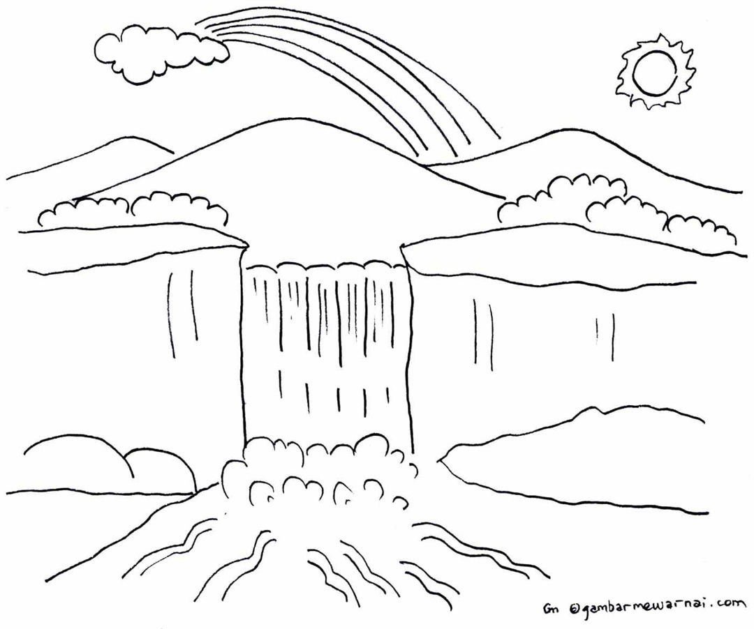 gambar mewarnai pemandangan gunung dan air terjun