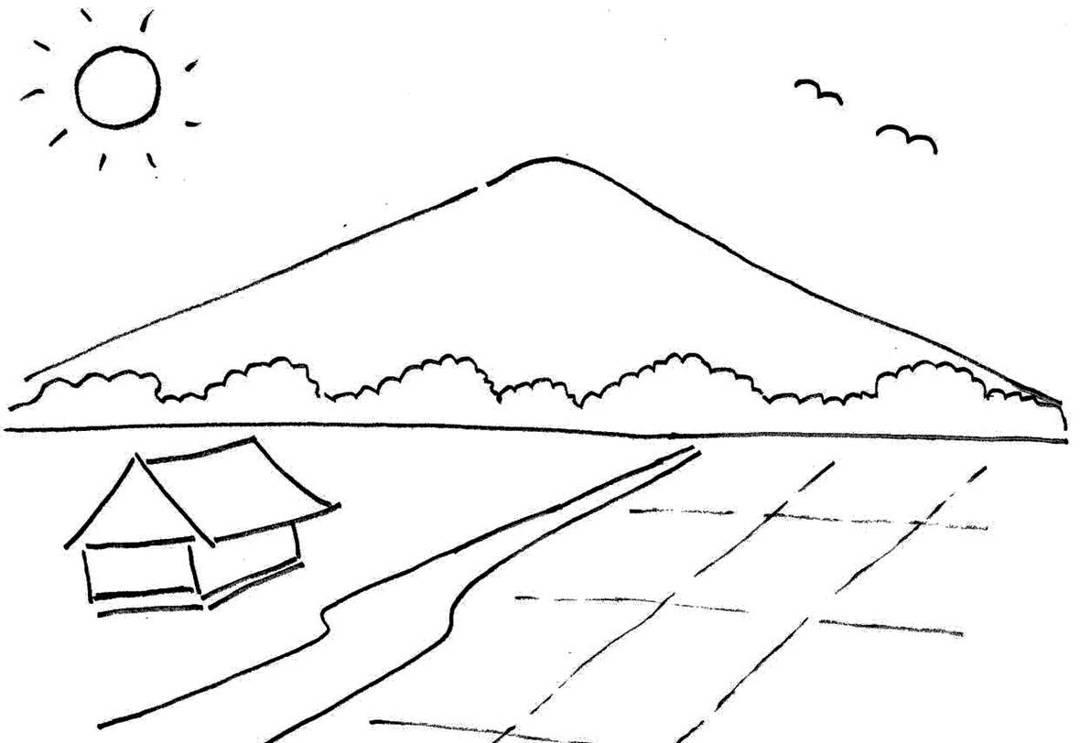 gambar mewarnai pemandangan gunung dan sawah