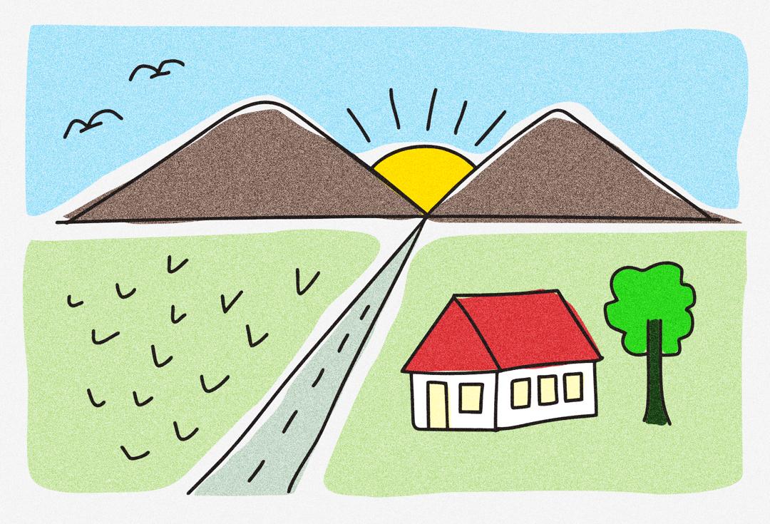 gambar pemandangan gunung dan rumah di desa